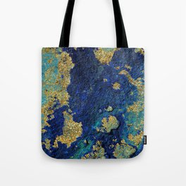 Indigo Teal and Gold Ocean Tote Bag