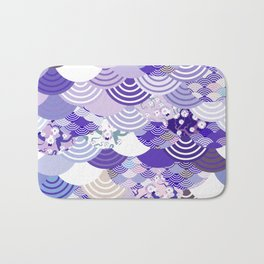 Nature background with japanese sakura flower, Cherry, wave circle. Ultra Violet Color of the Year Bath Mat