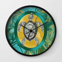 Aztec Emblem Sea Turtle  Wall Clock