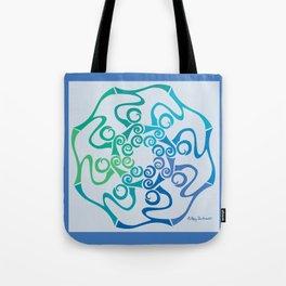 Hope Flower Mandala - Blue Green Turquoise Framed Tote Bag