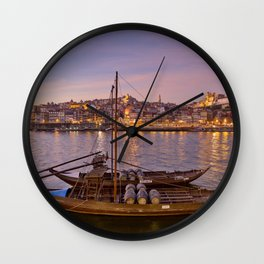 Port Wine barges, Porto at dusk Wall Clock