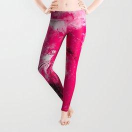 pink flamingo love couple splatter watercolor Leggings