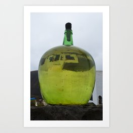 Green Bottle with a reflection Art Print