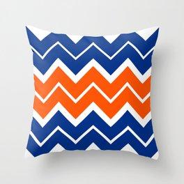 Big Chevron:  Blue + Orange Throw Pillow