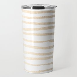 White Gold Sands Painted Lines Travel Mug
