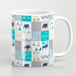 Woodland Cabin Decor Cheater Quilt Navy Aqua Grey Coffee Mug