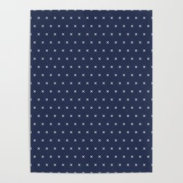 Navy blue and White cross sign pattern Poster