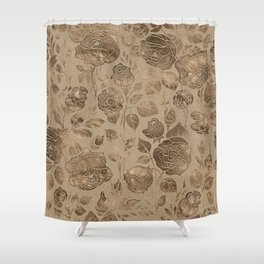 Vintage Pastel Gold Rose Floral pattern Shower Curtain