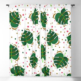 Monstera Leaves with Gold Pink and Green Geometric Confetti Blackout Curtain