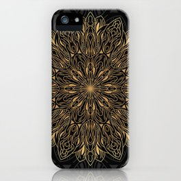 MANDALA IN BLACK AND GOLD iPhone Case