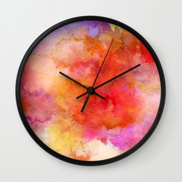 ink style of orange watercolour texture Wall Clock