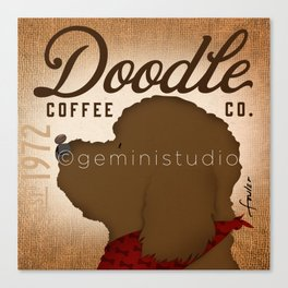 Doodle Coffee Company goldendoodle labradoodle artwork by Stephen Fowler Canvas Print