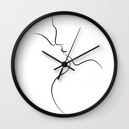Couple Kissing Line Art Drawing - First Kiss Wall Clock