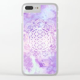 Flower Of Life (Soft Lavenders) Clear iPhone Case