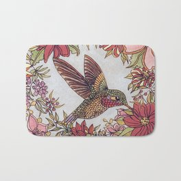 Hummingbird In Flowery Garden Wreath Bath Mat