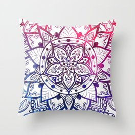 Mandala Inner Peace Spiritual Zen Bohemian Hippie Yoga Mantra Meditation Red Blue Throw Pillow