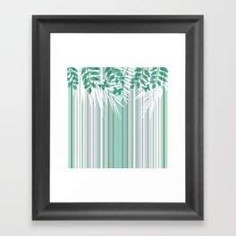 Multi-colored striped pattern with green tones . Framed Art Print