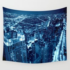 Chicago Nights Blue Wall Tapestry
