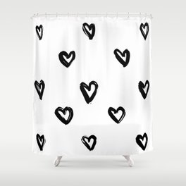Hand Draw Hearts in Black on White Background Shower Curtain