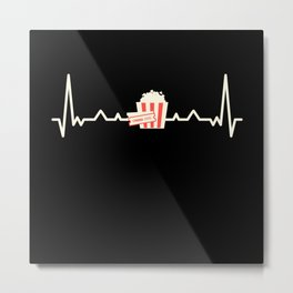 Cinema Popcorn Film Lover Gift Heartbeat Metal Print