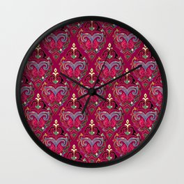 Persian Floral pattern  with painted texture and gold Wall Clock