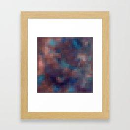 Brown , blue pixel Framed Art Print