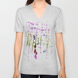 Abstract lime green neon pink purple watercolor paint splatters Unisex V-Neck