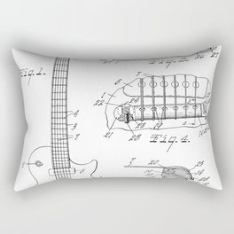 Gibson Guitar Patent - Les Paul Guitar Art - Black And White Rectangular Pillow