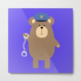 Police Bear with Metal Print