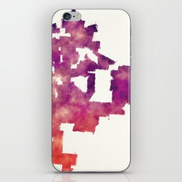 Kansas Missouri city watercolor map in front of a white background iPhone Skin