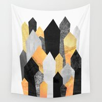 crystals Wall Tapestries featuring Black & Yellow Crystals by Elisabeth Fredriksson