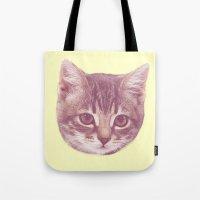 kitten Tote Bags featuring Kitten  by Freak Clothing