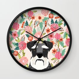 Schnauzer dog head floral background flower schnauzers pet portrait Wall Clock