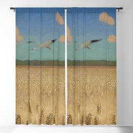 'Fields of Gold' landscape painting by Agnes Slott-Møller Blackout Curtain