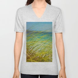 Seagrass By The Ocean Blue Waves Colorful Green To Blue Gradient Unisex V-Neck