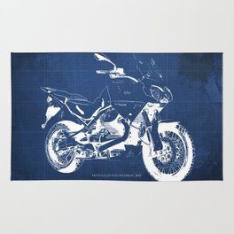 Motorcycle blueprint,2010, Moto Guzzi Stelvio, 1200 4V,poster,man cave decoration,vintage art Rug