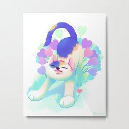 Flower Patch Cat Metal Print