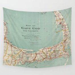 Vintage Map of Cape Cod (1917) Wall Tapestry