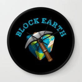 Block Earth - (Black background) Wall Clock