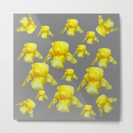 LEMON YELLOW SPRING IRIS GREY ART Metal Print