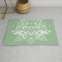 Summer Green Minimal Floral Mandala Rug