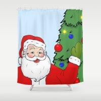 santa Shower Curtains featuring Santa by Caz Haggar