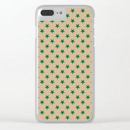 Cadmium Green on Tan Brown Stars Clear iPhone Case