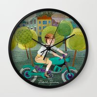 motorcycle Wall Clocks featuring Motorcycle by Rebekka Ivacson