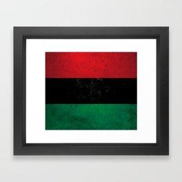 Distressed Afro-American / Pan-African / UNIA flag Framed Art Print