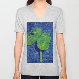 Lucky four leaf clover Unisex V-Neck