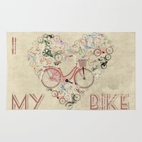 brompton Area & Throw Rugs featuring I Love My Bike by Wyatt Design
