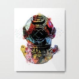Fish Diver Metal Print