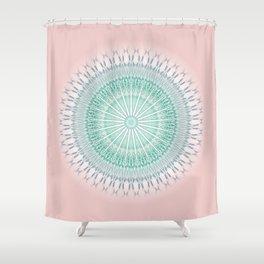 Dusky Pink Green Mandala Shower Curtain