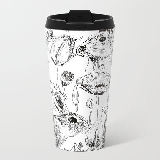rabbits and flowers parties Metal Travel Mug